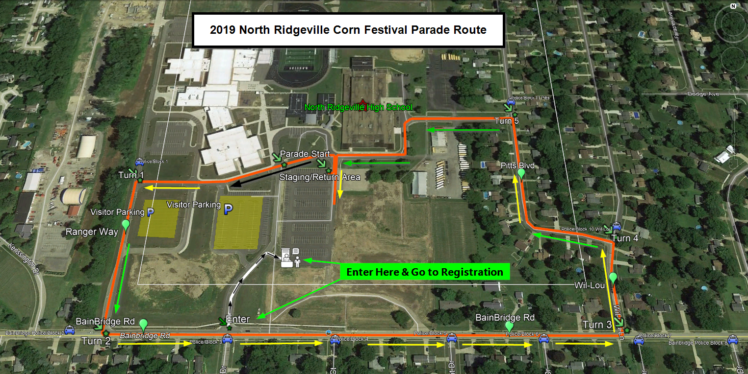 North Ridgeville Corn Festival Grande Parade Route for 2019
